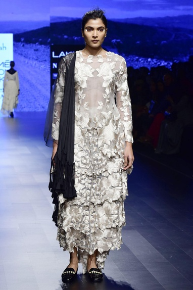 Off white organza & tulle embroidered skirt set with black organza cape