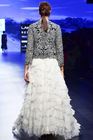 Off white organza applique skirt with black tulle embroidered blouse