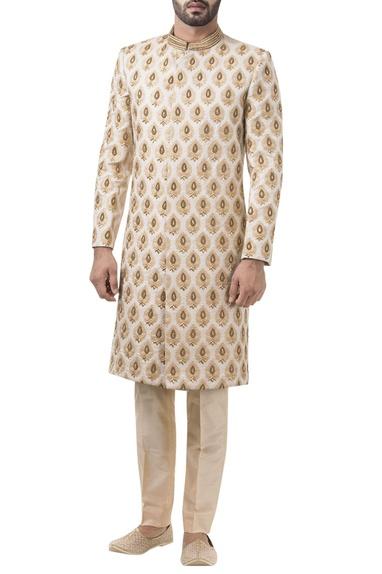 Beige brocade zari work sherwani with trousers