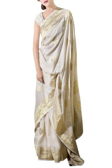 Ivory & gold georgette brocade sari with blouse