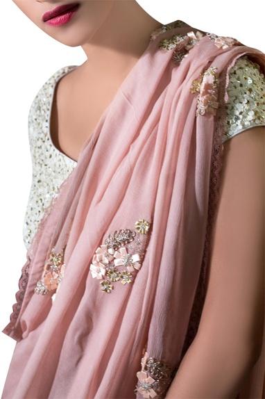 Ash pink chiffon ribbon embroidered sari with blouse
