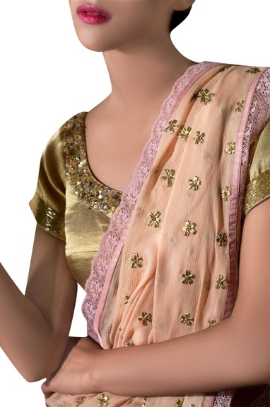 Beige gota floral sari with gold blouse