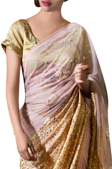 Beige & pink chiffon ribbon flower embroidered sari with blouse