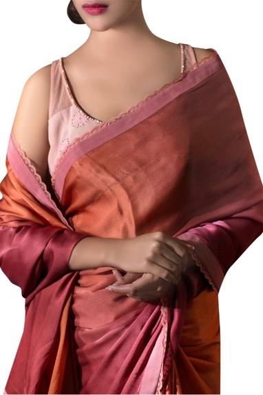 Deep pink tassel satin sari with blouse