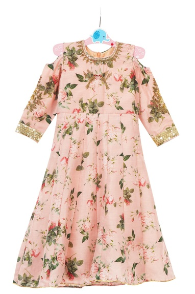 Pink floral printed cold-shoulder hand-embroidered gown