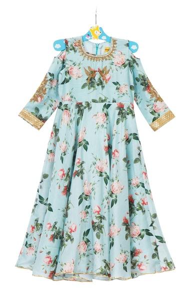 Blue cold-shoulder crepe silk gown