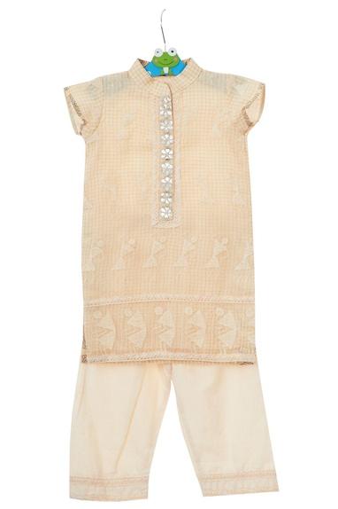 Cream kota silk kurta with pants