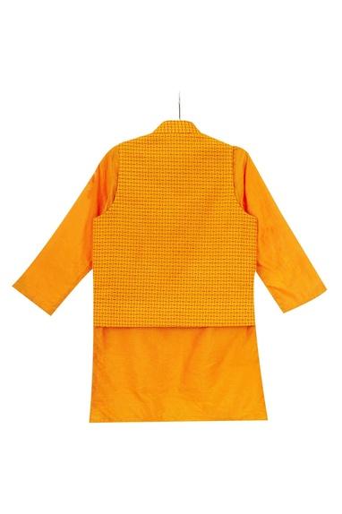 Sunrise orange hand embroidered car motif jacket with kurta