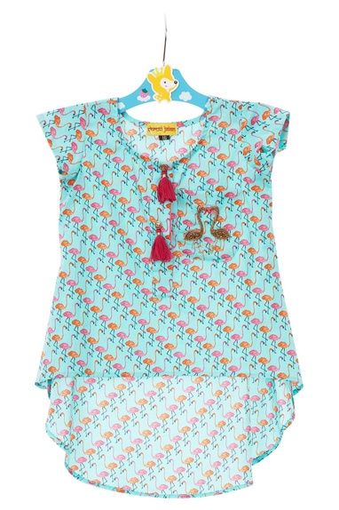 Blue cotton hand embroidered tunic