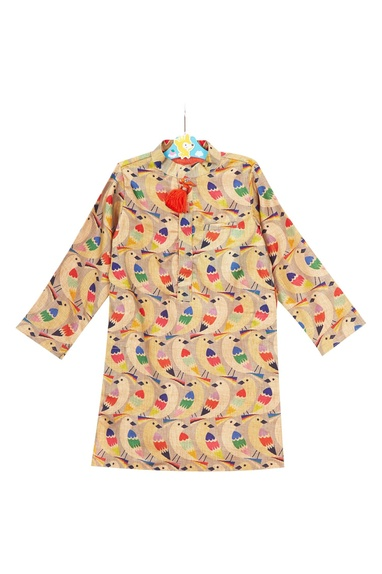 Multicolored tussar silk kurta