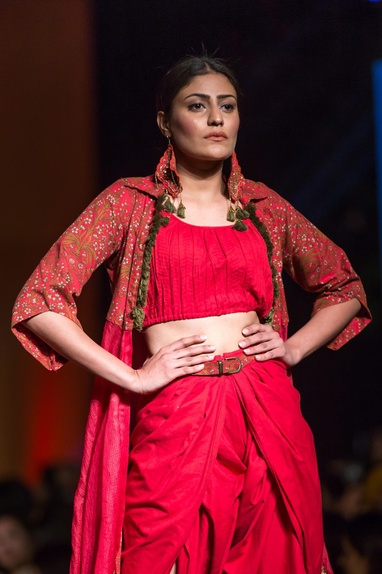 Red embroidered cape with tulip pants & crop top