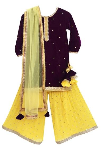 Purple velvet kurta with sharara pants & dupatta
