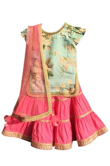 Blue cotton printed kurti with pink sharara & dupatta