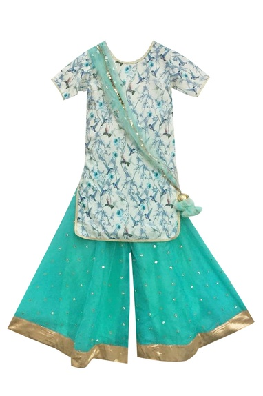 Off-white printed kurta with blue sharara pants & dupatta