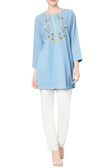 Blue cotton georgette top