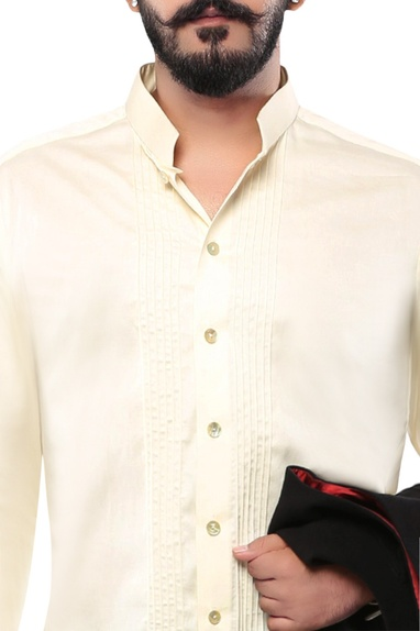 Beige linen jodhpuri shirt