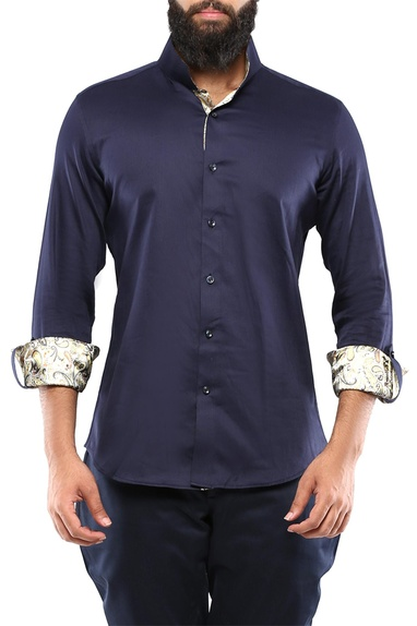Navy blue shirt with kantha stitch detailing