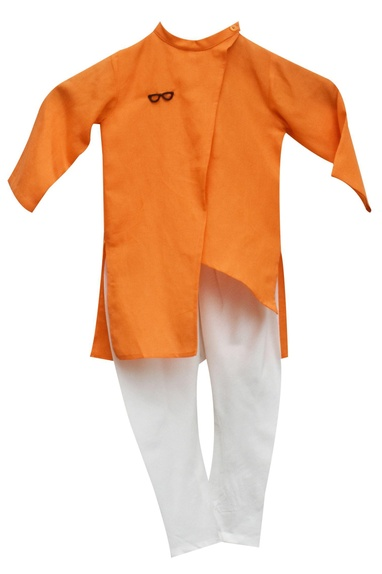 Orange kurta with churidar