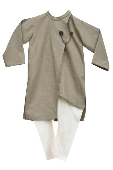 Grey linen asymmetric kurta with churidar