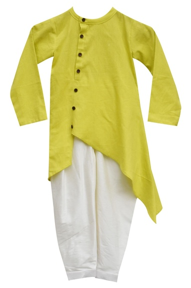 Lime green kurta with churidar
