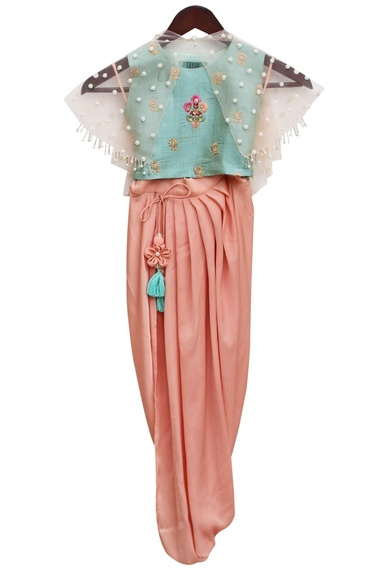 Aqua blue satin embroidered blouse & draped dhoti with net cape
