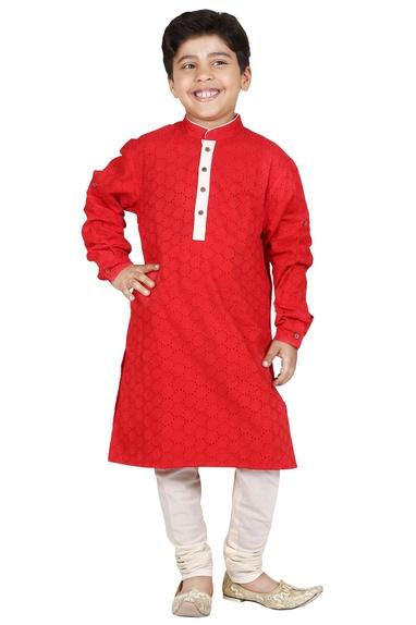 Red & ivory cotton cutwork kurta set