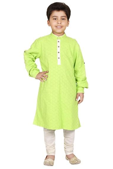 Green & ivory cotton cutwork kurta set