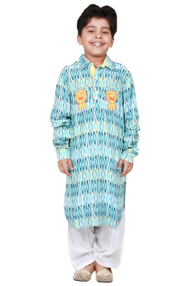 Turquoise cotton batik printed kurta set