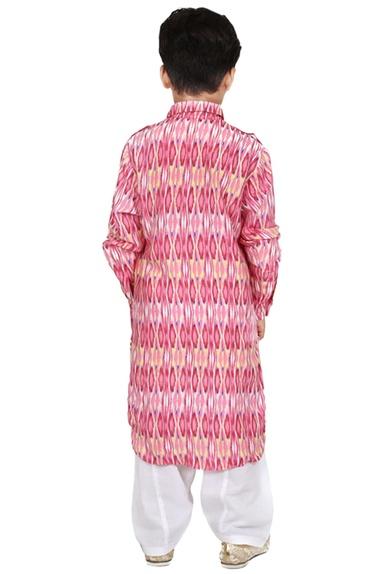 Pink cotton batik printed kurta set