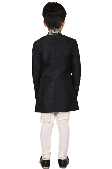 Black & off white raw silk embroidered kurta set with sherwani