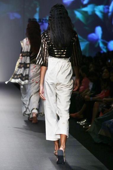 Black silk chanderi striped blouse with white pants