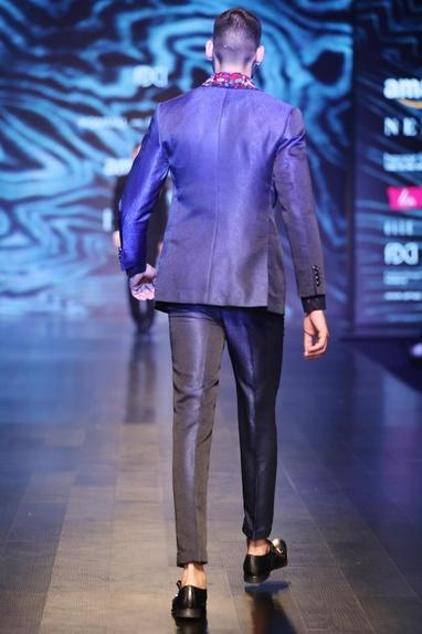Black & blue blended silk & satin slim fit trousers