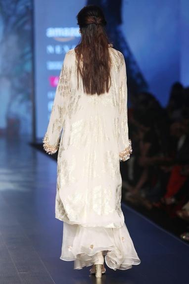 Ivory chiffon palm leaf asymmetric tunic with pleated skirt