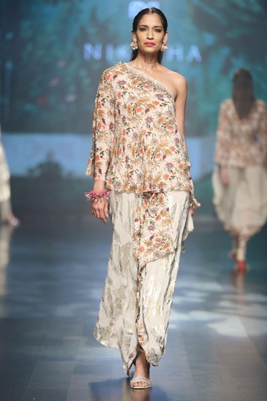 Ivory crepe jaal embroidered one-shoulder blouse with asymmetric wrap skirt