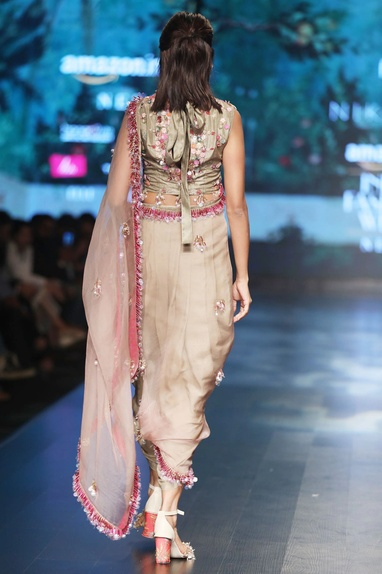 Grey crepe & organza embroidered dhoti sari with embroidered blouse
