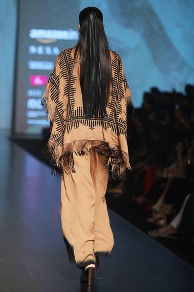 Caramel brown & black fringe detail cape
