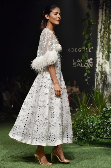 Ivory tulle feather & mirror work cape