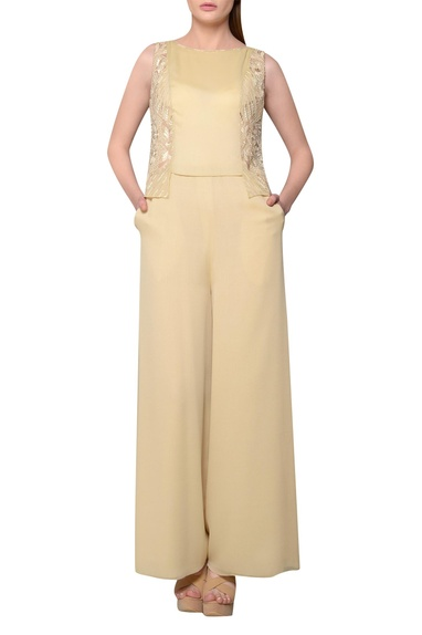 Beige english georgette embroidered jumpsuit