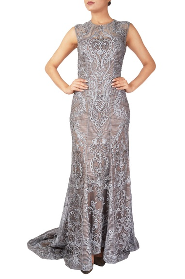 Grey organza woven gown with trail