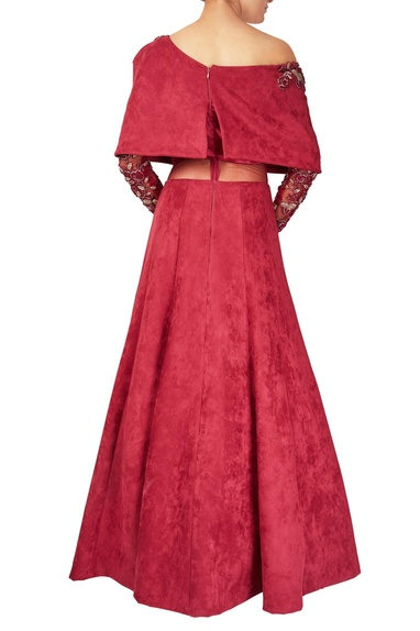 Maroon suede & net off-shoulder cape gown