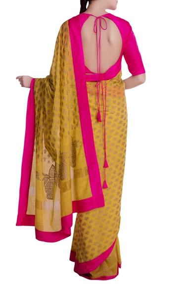 Mustard yellow & pink border kailash motif saree with blouse piece