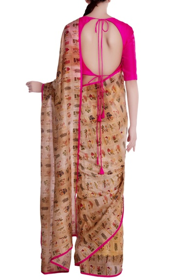 Beige 'burning garden' chanderi silk saree with unstitched blouse
