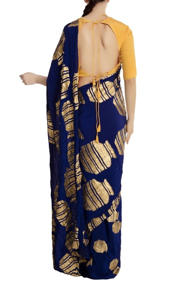 Blue crepe silk gold vase motif saree with yellow unstitched blouse