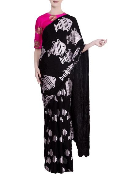 Black heritage fish motif saree with pink blouse piece
