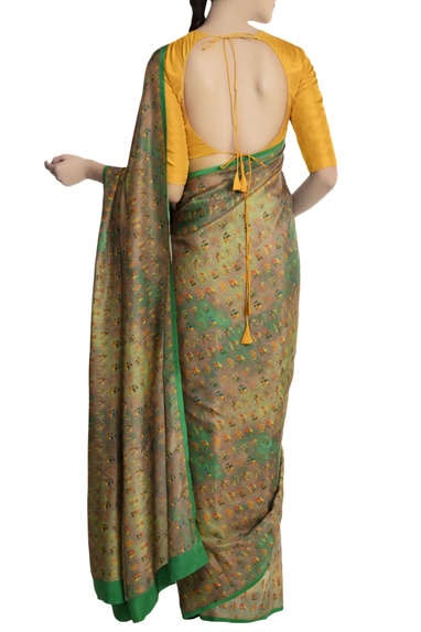 Mint green ombre garden motif saree with yellow blouse piece