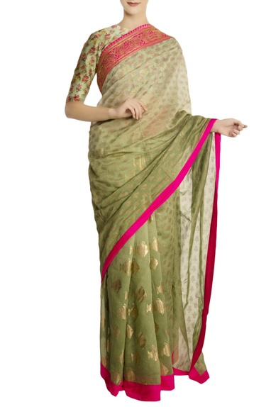 Mint green fish motif pleated saree with blouse piece