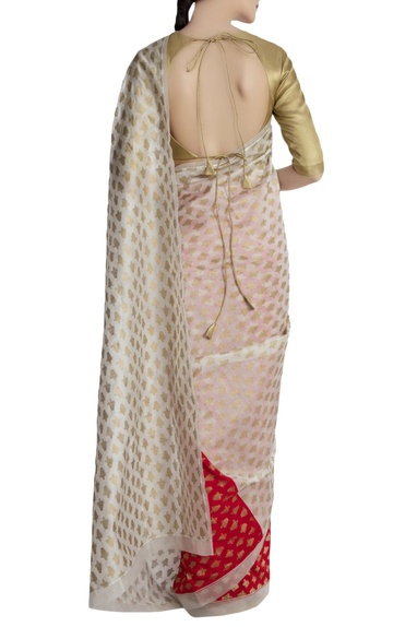 Red & ivory chanderi silk saree with brocade blouse