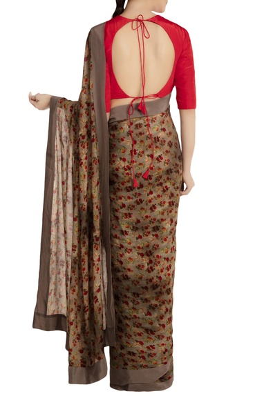Grey chiffon silk floral printed saree with red blouse piece