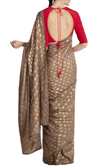 Grey kailash khadi saree with red blouse piece