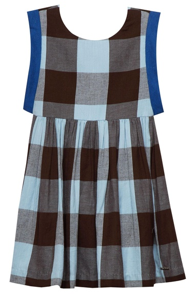 Baby blue & brown cotton chequered dress